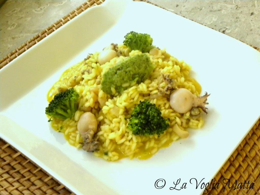 risotto allo zafferano con seppioline e broccoli
