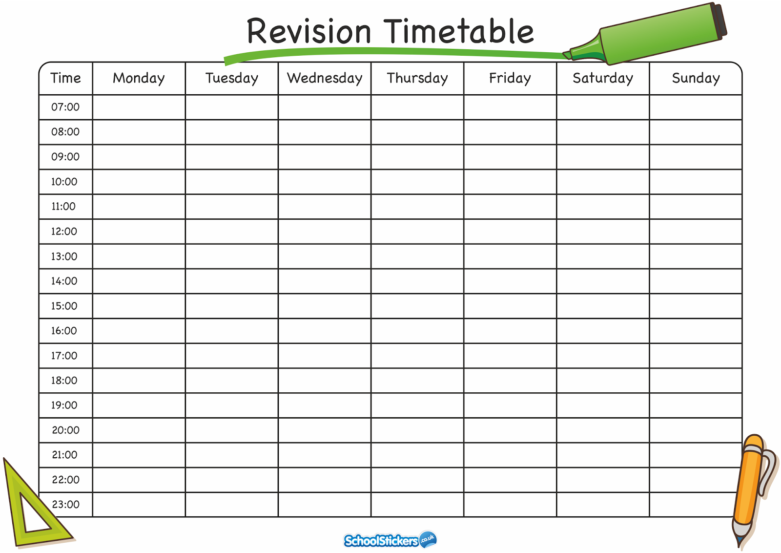 Timetable templates for school in excel format excel for Blank revision timetable template