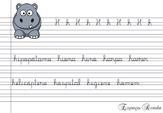 Caderno de caligrafia letra h
