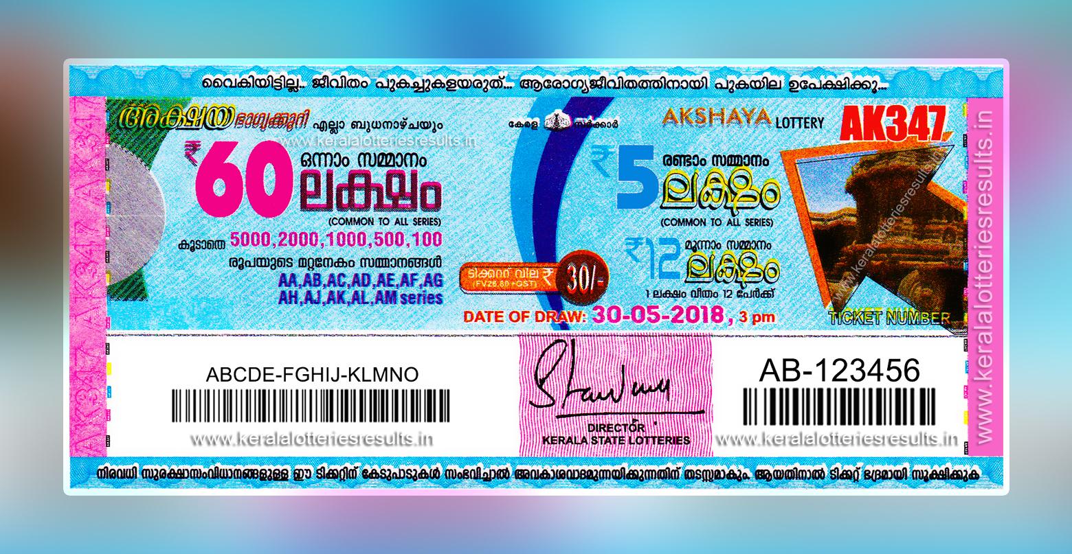 "Kerala Lottery Result; 30-05-2018 ""Akshaya Lottery Results ..."