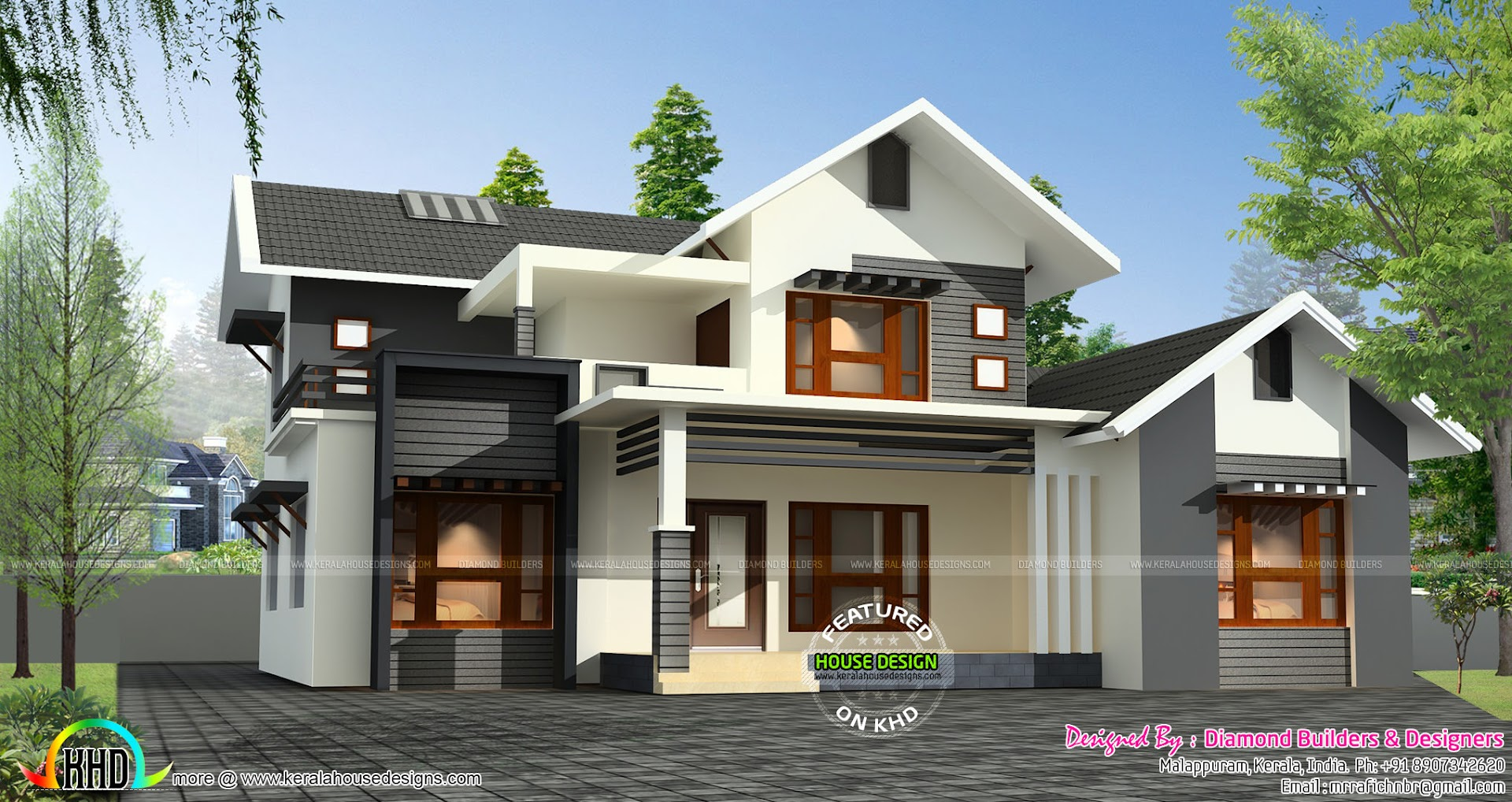 Sloping roof mix 1500 sq ft home kerala home design and for 1500 sq ft house plans kerala