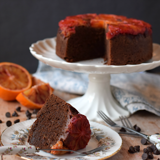 Image of Blood orange and Chocolate Upside Down Cake using a white reflector.