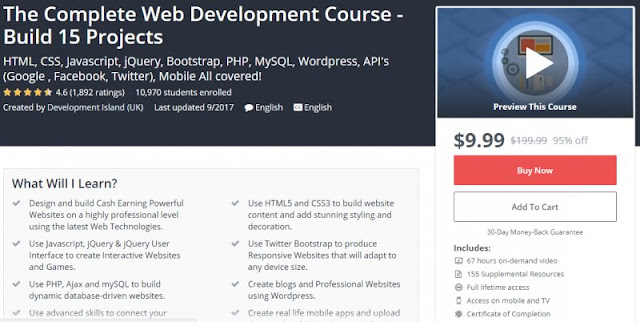 [9,9$ Only] The Complete Web Development Course - Build 15 Projects