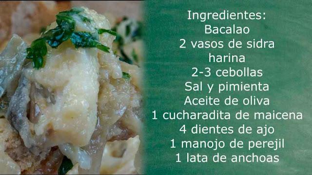 Ingredientes bacalao a la sidra