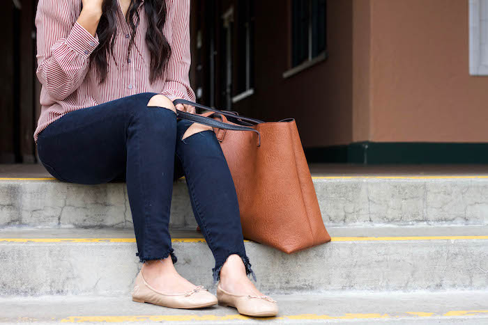 Frayed Jeans + Maroon Stripe Blouse + Nude Flats