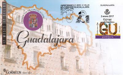 Sobre primer día Guadalajara, 12 sellos, 12 meses, 12 provincias