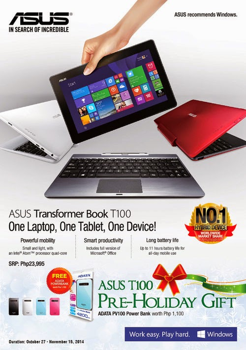 Grab the limited Asus Transformer Book T100 pre-holiday gift now!