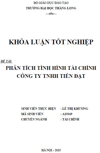 Phân tích tình hình tài chính Công ty TNHH Tiến Đạt