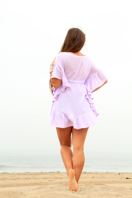 Lavender Mini Ruffle Caftan - Beach Cover Up Dress