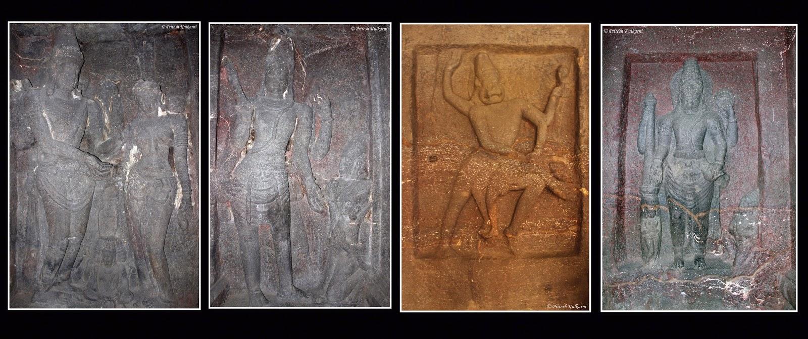 Sculpted panels on wall - stories related to Ramayana, mahabharat, Lord Vishu and Lord Shankar