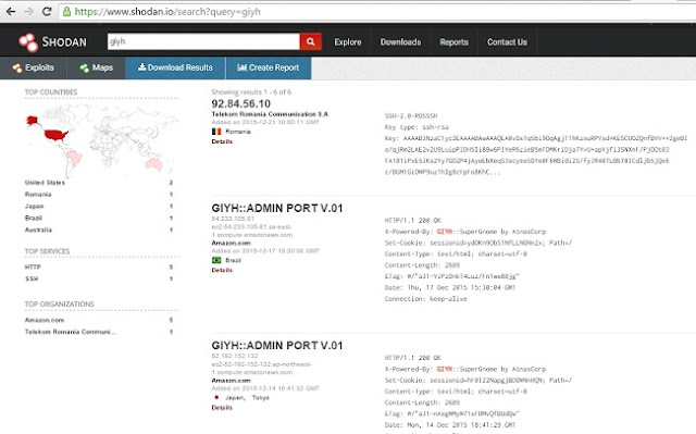 Shodan quickly reveals every SuperGnome on the Internet, easily pinpointing it's geographic location.