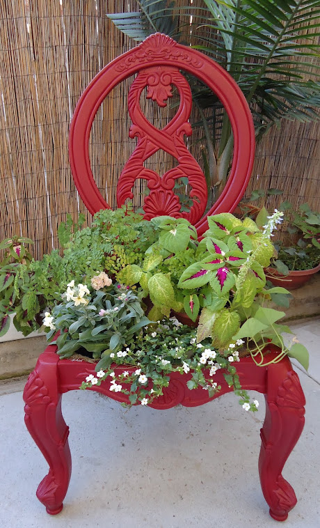 Repurposed Old Chair-Planter - SOLD