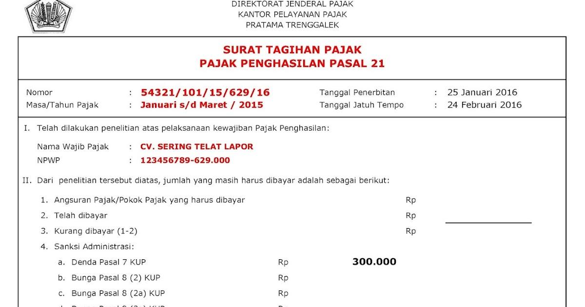 Bayar Surat Tagihan Pajak Sanksi Administrasi Denda Atau