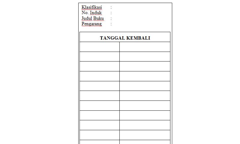 Contoh Bentuk Format Kartu Buku pada Administrasi Perpustakaan Sekolah (Template Siap Edit - Print)