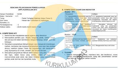 Donwload RPP Kelas 4 Tema 3 Kurikulum 2013 Revisi 2017
