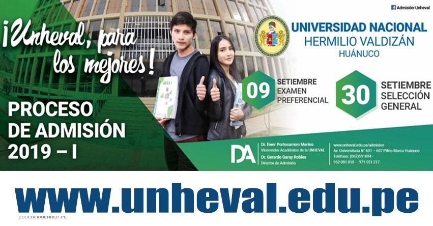 Resultados UNHEVAL 2019-1 (Domingo 30 Septiembre) Lista Ingresantes Examen Admisión - Selección General - Universidad Nacional Hermilio Valdizán - Huánuco - www.unheval.edu.pe