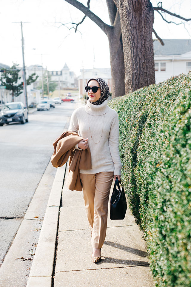 J. Crew Camel Coat-Turtleneck Sweater-Ryan-Fit Italian Flannel Pant-Leopard Hijab-DVF Leopard Heels-Black Kate Spade Blog-MAC Ruby Woo Lipstick-ASOS Cat Eye Sunglasses-Hijabi Blogger-Katie Vee Photography