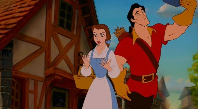 Gaston waving Belle Beauty and the Beast 1991 animatedfilmreviews.filminspector.com