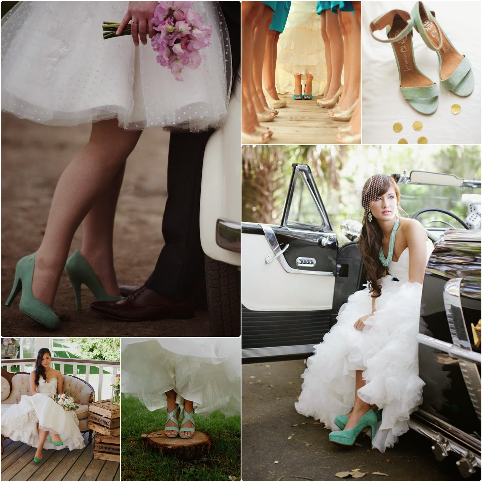 zapatos de boda retro para novia en colores azules