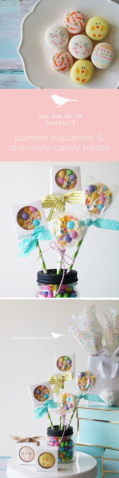 diy sweet ideas for entertaining and favors - painted macarons and chocolate candy sweets | Lorrie Everitt Studio