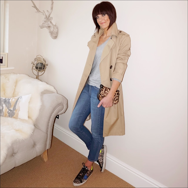 My Midlife Fashion, massimo dutti trench coat, golden goose superstar leopard print trainers, j crew vintage v neck t shirt, baukjen the boyfriend jeans, j crew leopard print across body bag