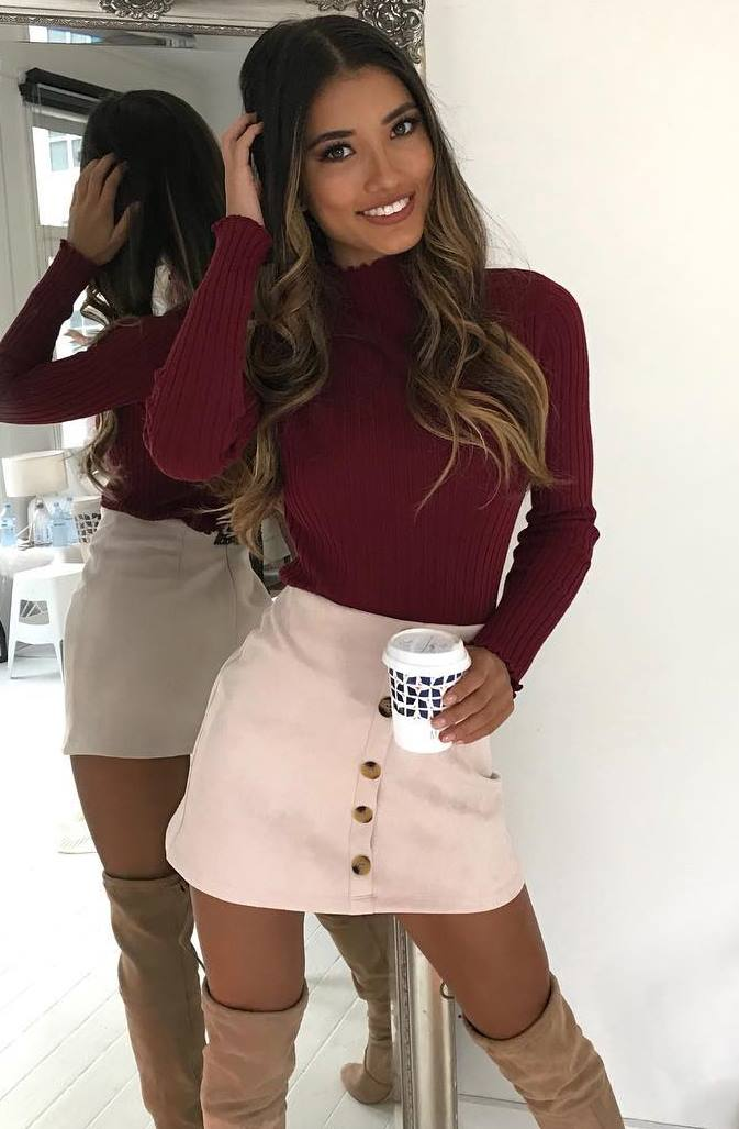 fashion trends   burgundy top + blush skirt + over knee boots