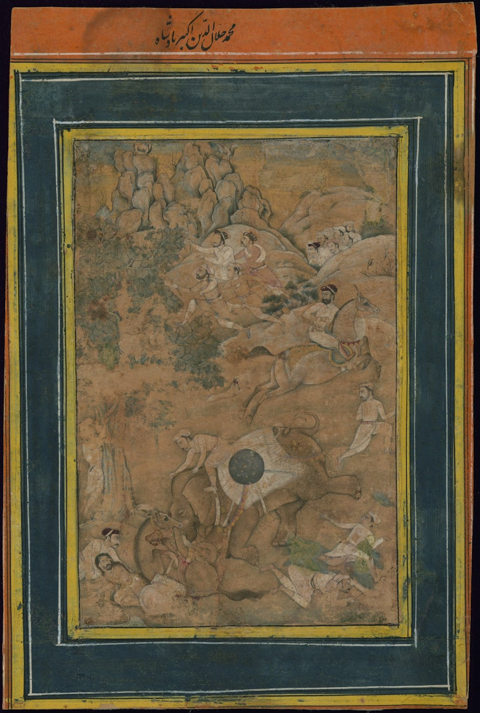 Emperor Akbar is Riding and Controlling his Elephant, which has Gone into Heat (Must) - Mughal Painting, Circa 17th Century