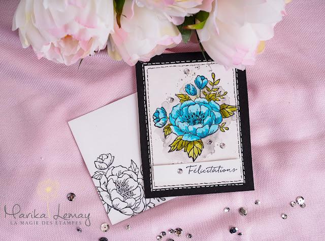 carte avec le jeu fleurs d'anniversaire stampinup