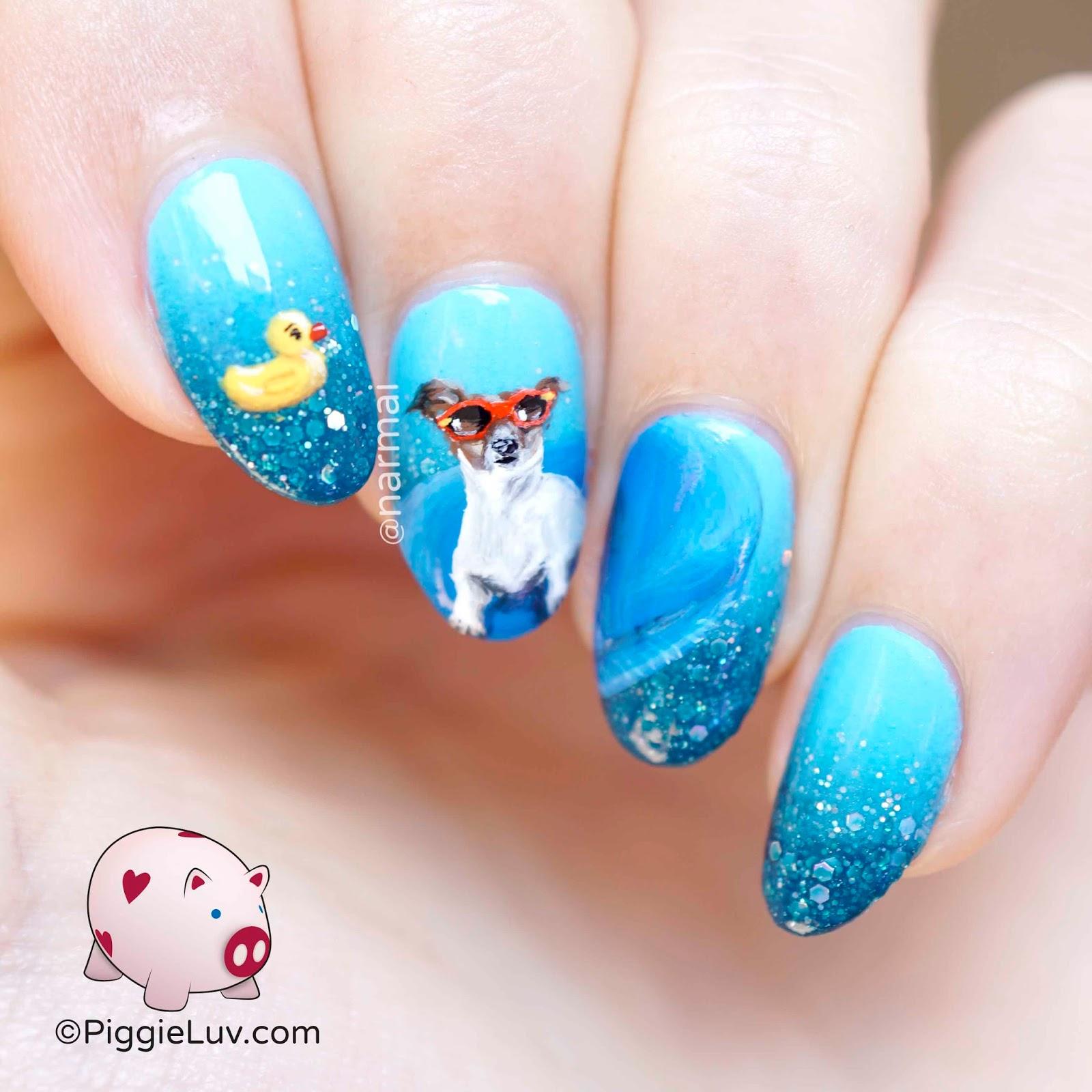 Piggieluv Swimming Dog Nail Art