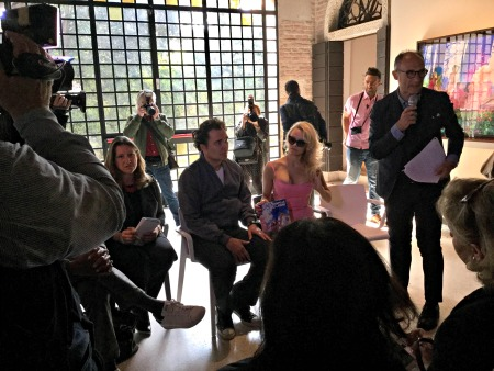 David LaChapelle and Pamela Anderson at Tre Oci - Photo: Cat Bauer