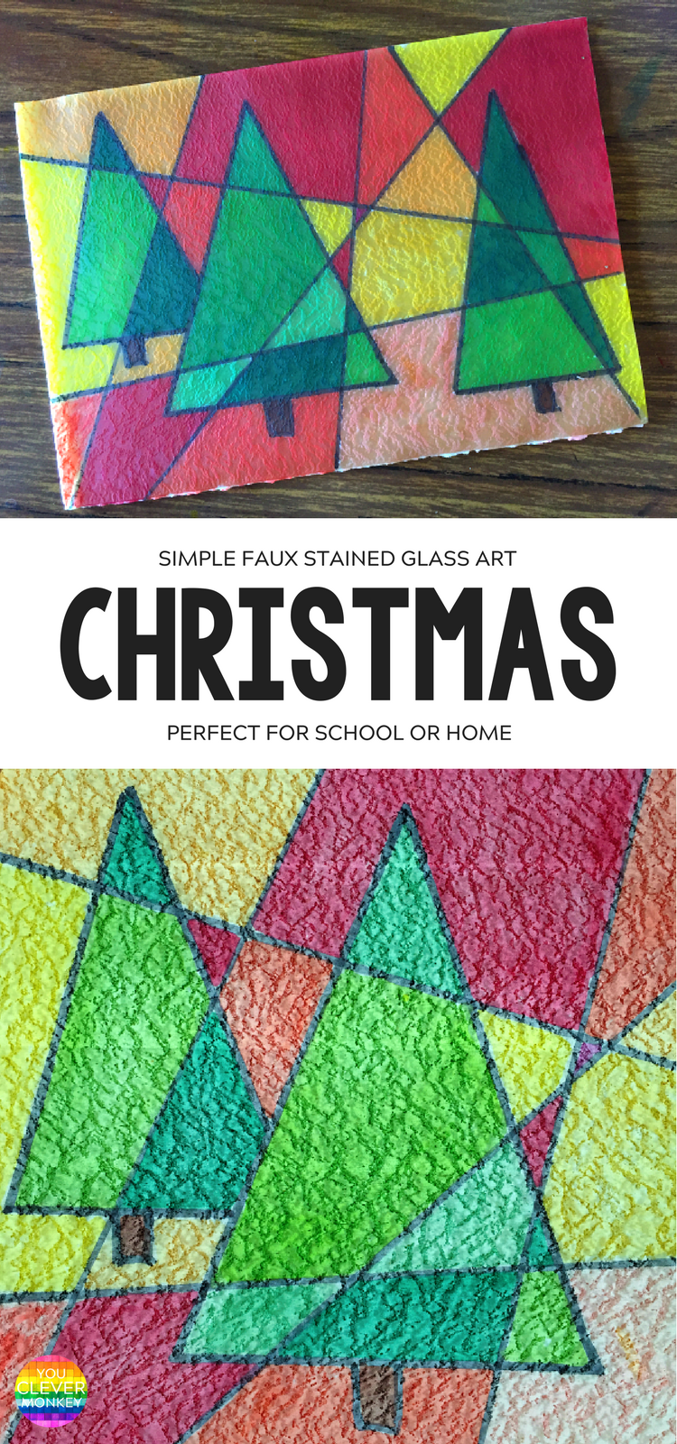 easy christmas art faux stained glass you clever monkey