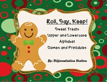 http://www.teacherspayteachers.com/Product/Holiday-Sweet-Treats-Roll-Say-Keep-Alphabet-Center-Game-and-Printables-965464