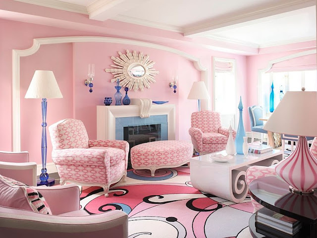 Feminine Living Room With Pink shabby Chic Style