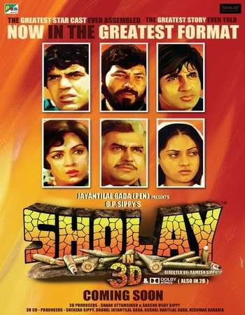Poster Of Sholay 1975 Hindi 700MB DVDRip 720p HEVC Watch Online Free Download downloadhub.in