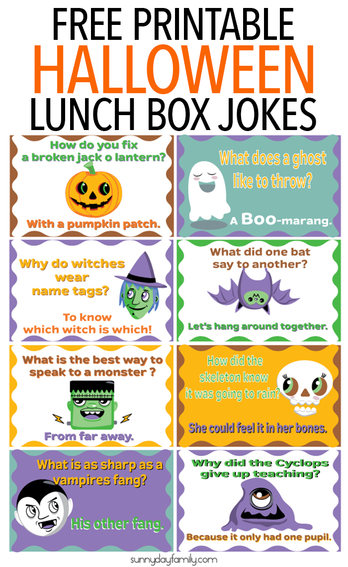 graphic relating to Lunch Box Jokes Printable identify No cost Printable Halloween Lunch Box Jokes for Little ones Sunny