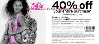 Justice For Girls coupons for december 2016