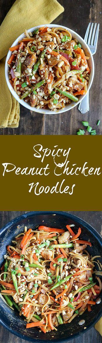 Spicy Peanut Chicken Noodle Bowl