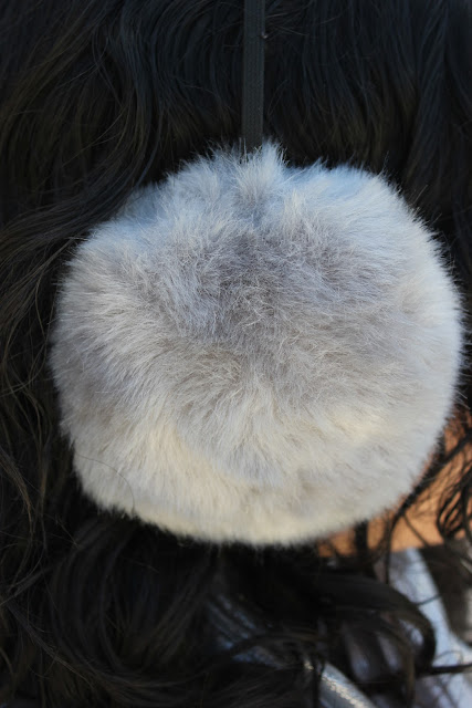 Grey Material Girl Earmuffs