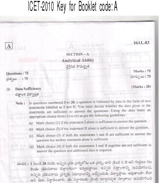 Indian Universities Information Portal: ICET-2010 question