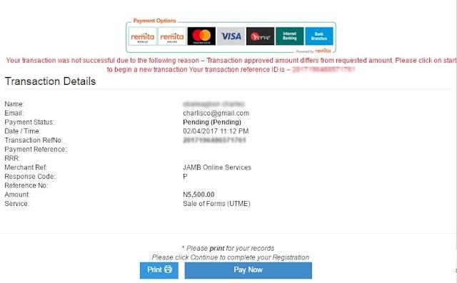 jamb pending payment status
