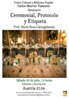 """Seminario """"Ceremonial, protocolo y etiqueta"""""""