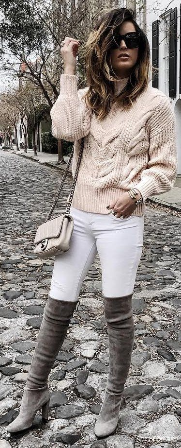 fashion trends / knit sweater + bag + white skinnies + grey over the knee boots