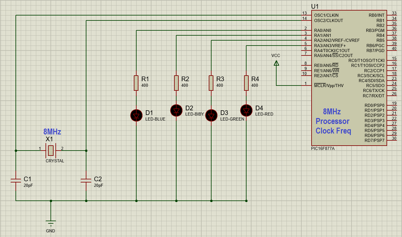 Multiple Blinking LED using PIC16F877A with Proteus