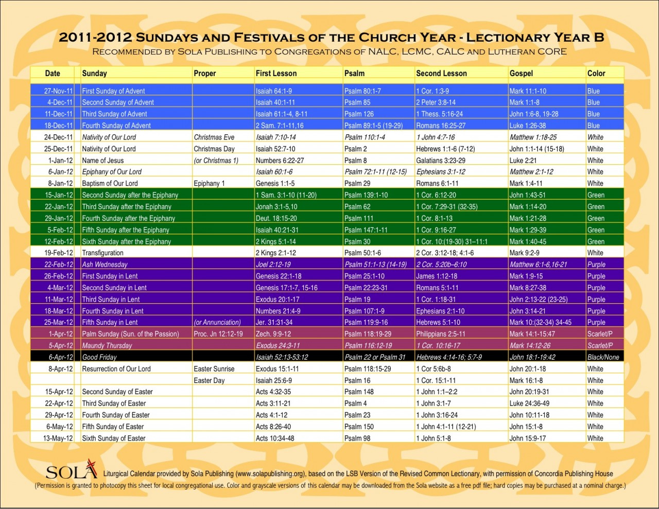 2016 Lectionary Methodist Calendar | Calendar Template 2016