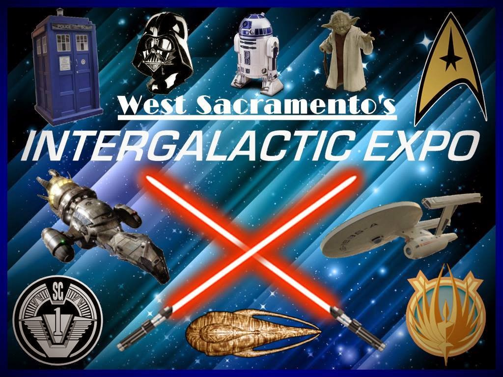 "West Sacramento's Intergalactic Expo promotion poster with images of ""Doctor Who"" Tartus, ""Star Trek"" Enterprise and ""Star Wars"" characters."