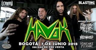 Concierto de HAVOK en Bogotá