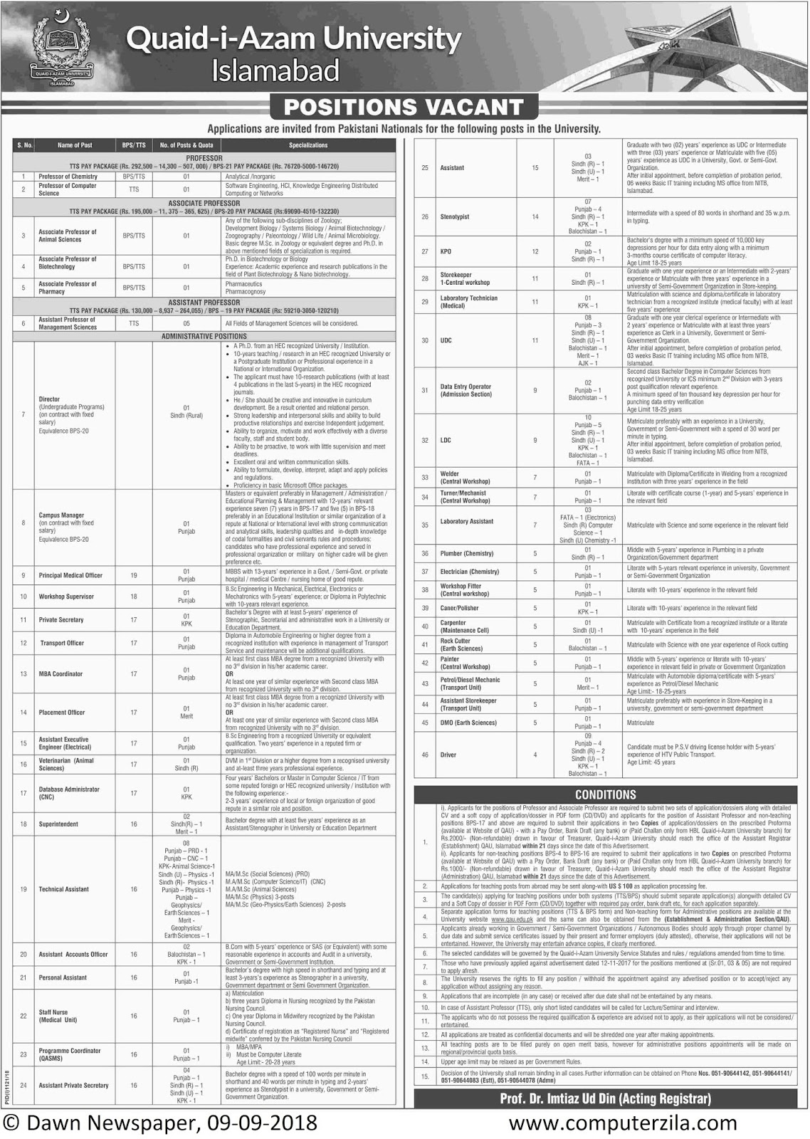 Positions Vacant at Quaid-i-Azam University