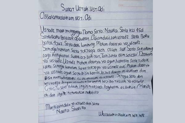 Inilah Naura, Bocah  SD 10 Tahun yang Kirim Surat Untuk Ust Adi Hidayat