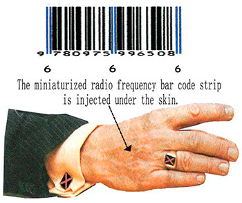 666 RFID chip mark of the Beast.