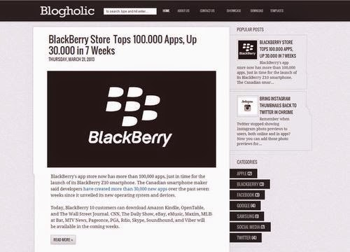 Blogholic Template Simple Responsive